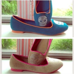 Skull Flats Shoes your Choice Turquoise or Tan 8
